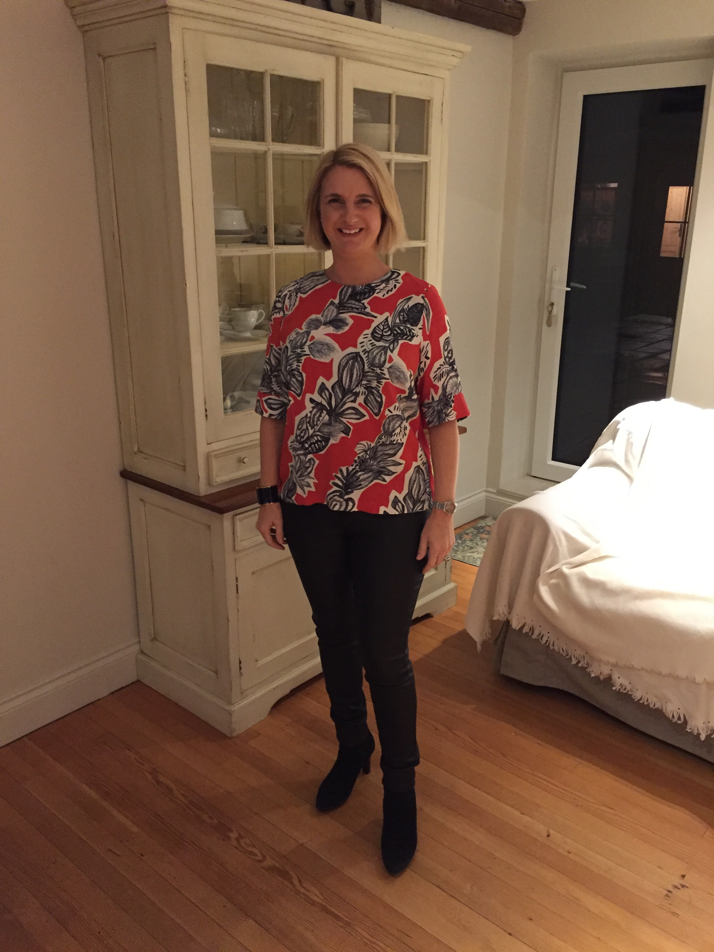 Top from Finery, Trousers from Next and boots from Russell & Bromley