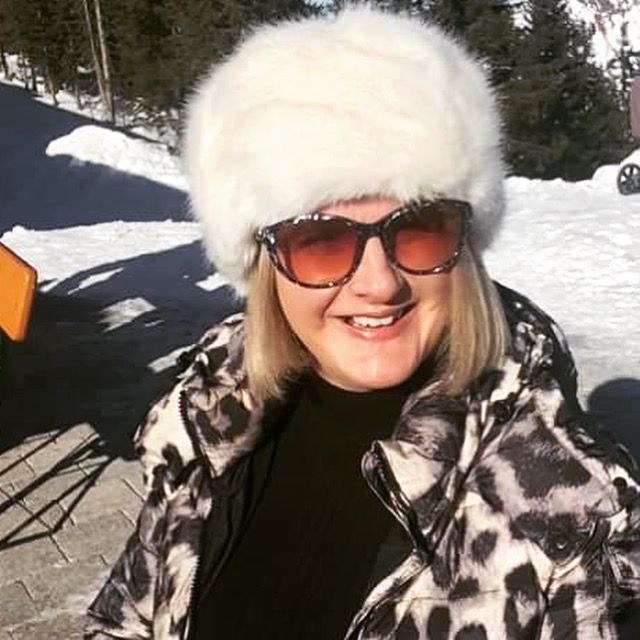 Hat from Accessorise, Sunglasses from Jimmy Choo, Jumper from Dorothy Perkins, Coat from Moncler