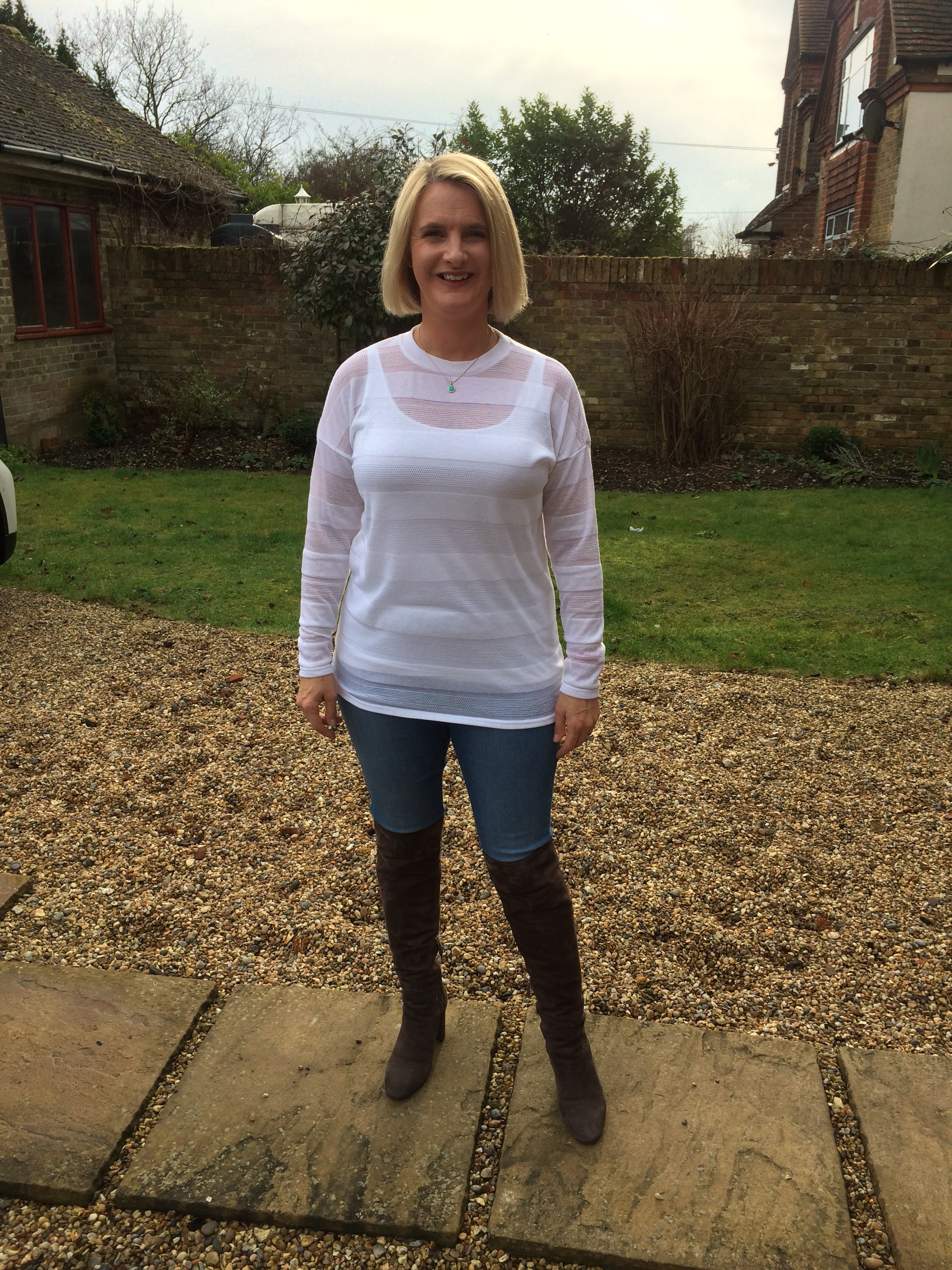 Top from Next, Vest from Marks and Spencer, Eden Jeggings from Dorothy Perkins,Boots from LK Bennett.