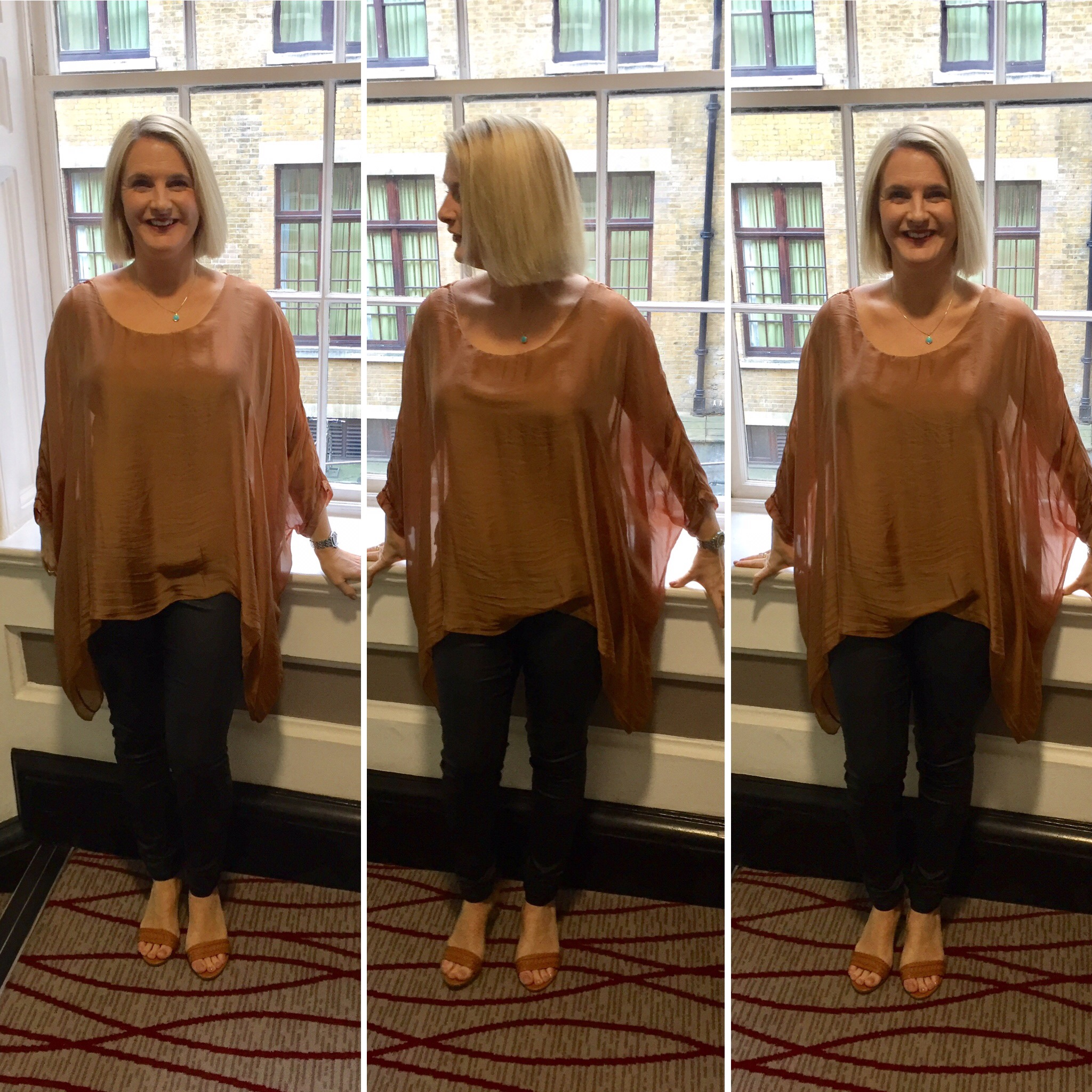 Chiffon/silk overlay on a cotton vest style undertop. I've said before I can't do layering but this one was done for me, perfect for covering and concealing.  Top from a boutique in Lavenham,Suffolk, Leather look jeggings from Next and Sandals from Ralph Lauren.