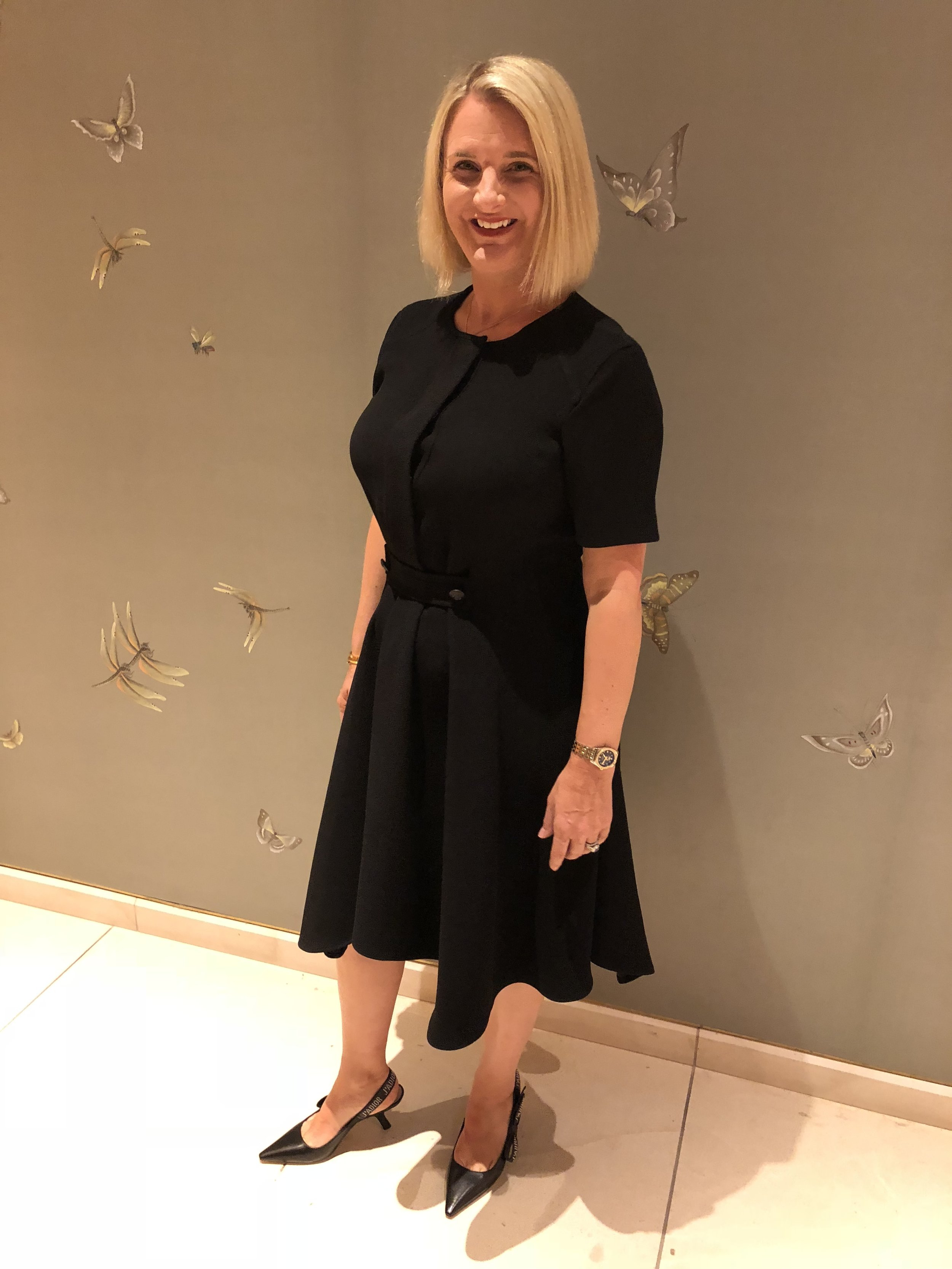 Dress from Belstaff, Shoes from Christian Dior.