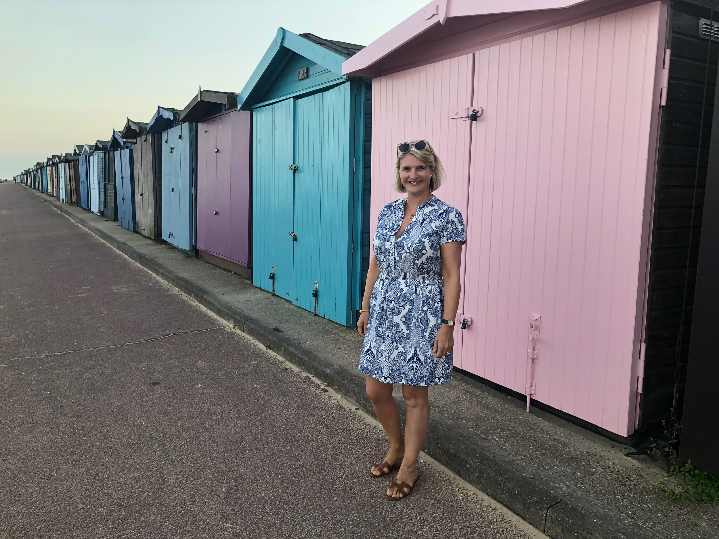 We had a lovely, albeit slow walk along the beach and then once there was no more beach we walked along the promenade next to the glorious beach huts.  The day after I wore this dress I saw one very similar on my Insta.  Ok, I appreciate the one below isn't an identical match, but it's close enough, and bearing in mind the Wolf & Badger one is £200 and my one was £12, I think I'm ok with it not being an exact match.