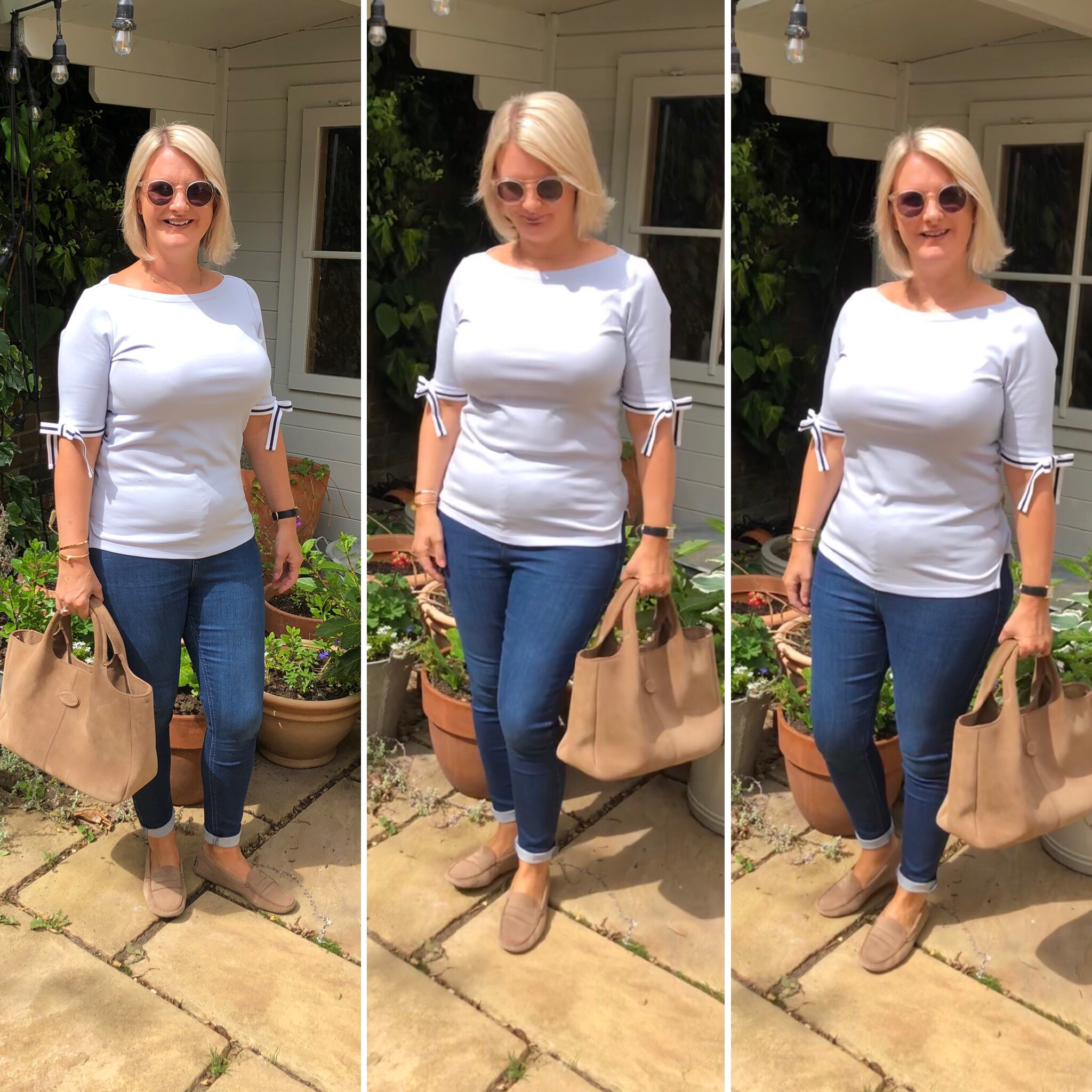Top from Ralph Lauren, Jeans - Joni's from Topshop, Shoes and Bag from Todd's.