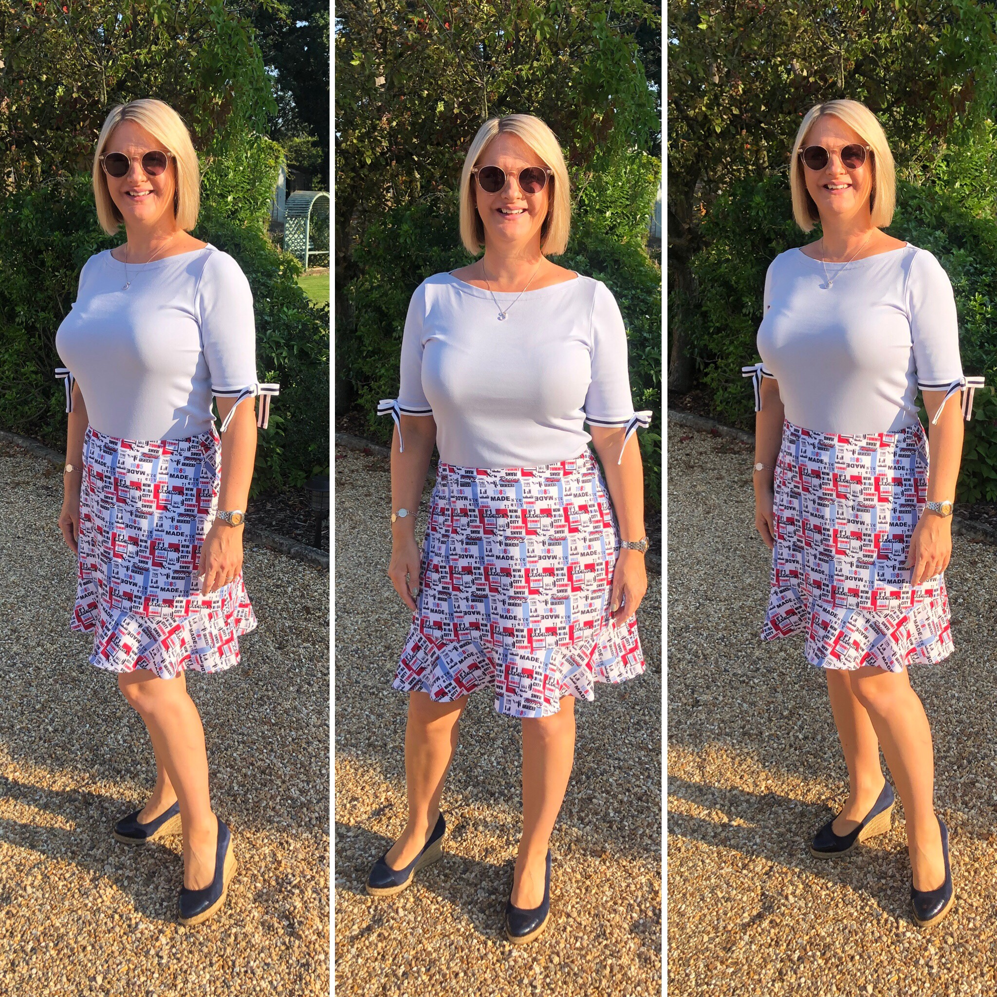 Top from Ralph Lauren, Skirt from Tommy Hilfiger, Shoes from Russell and Bromley.