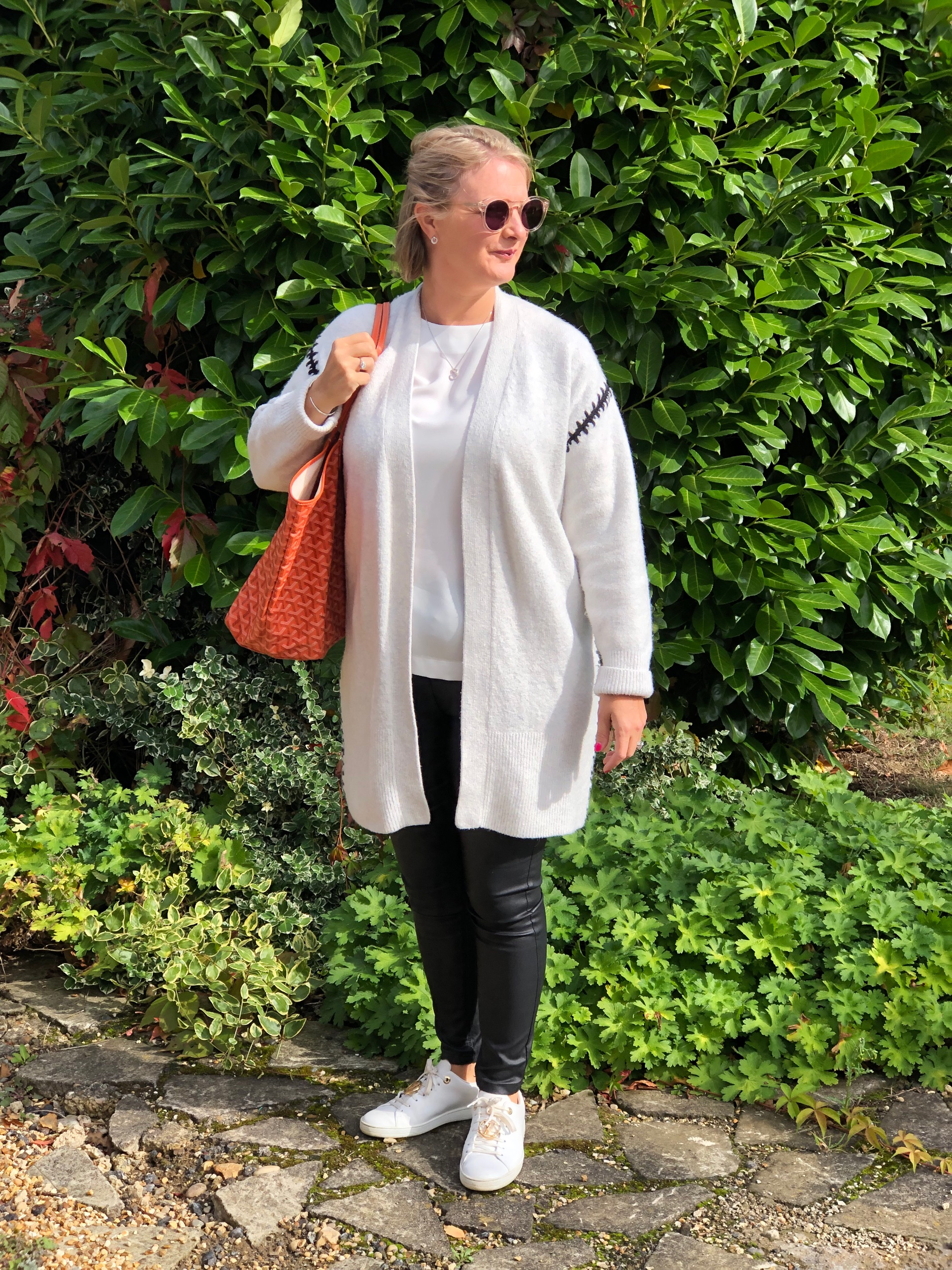 Top from Tommy Hilfiger, Jeggings from Next, Cardigan from The White Company, Shoes from Louis Vuitton, Bag from Goyard.