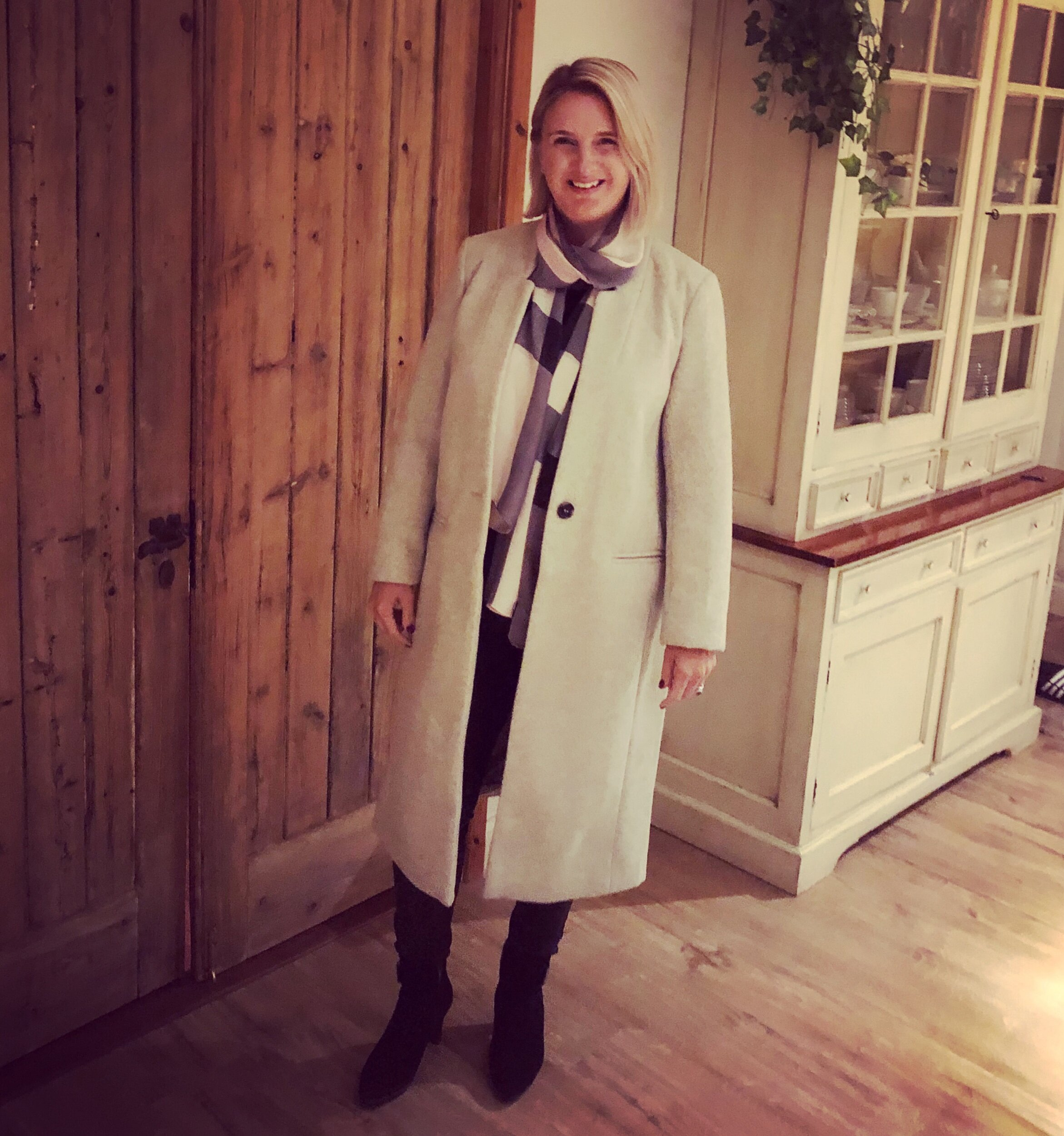 Coat from Sainsbury's, Scarf from Burberry.