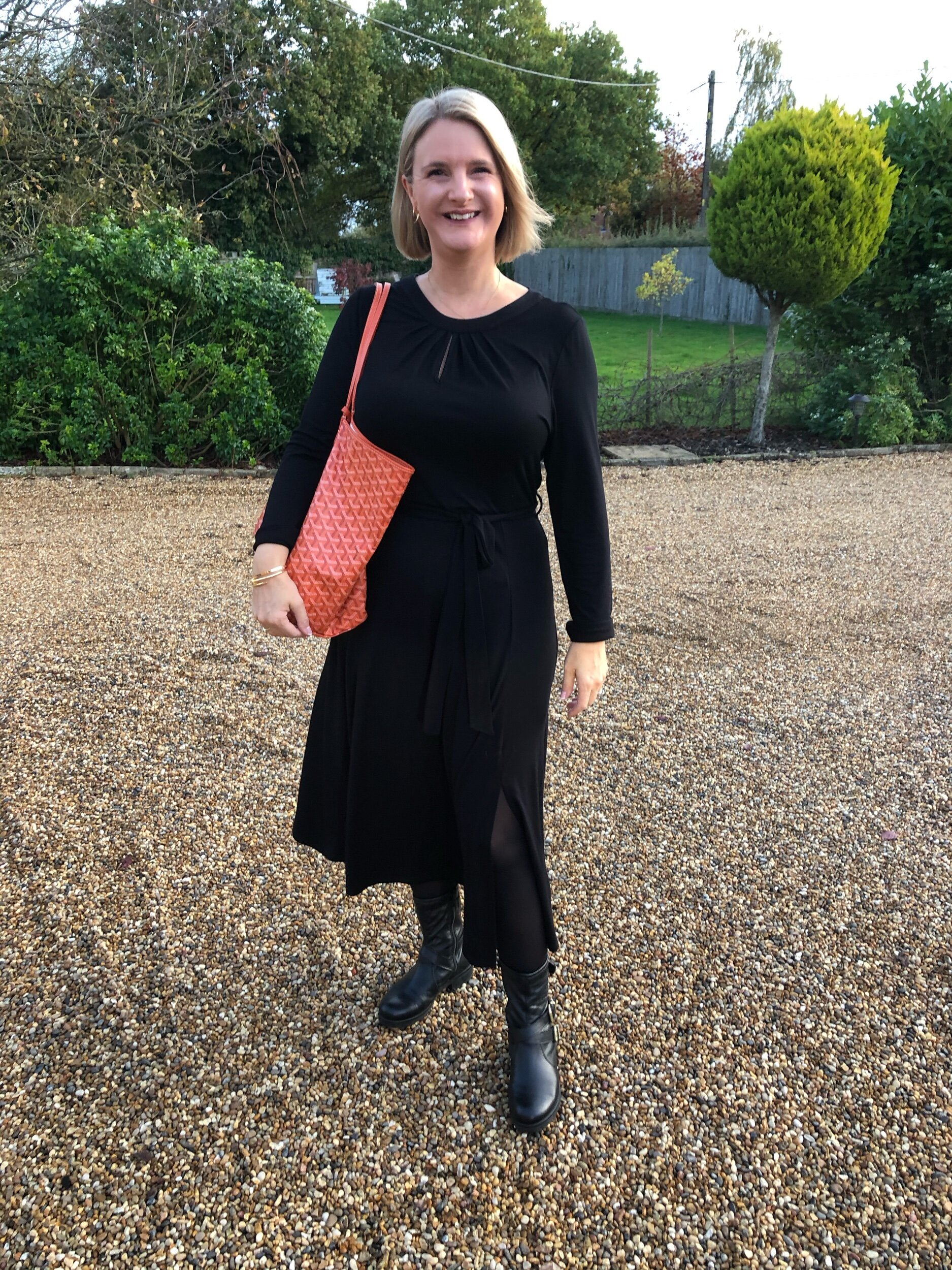 Dress from Dorothy Perkins, tights from Tesco, Boots from Kurt Geiger and bag from Goyard.