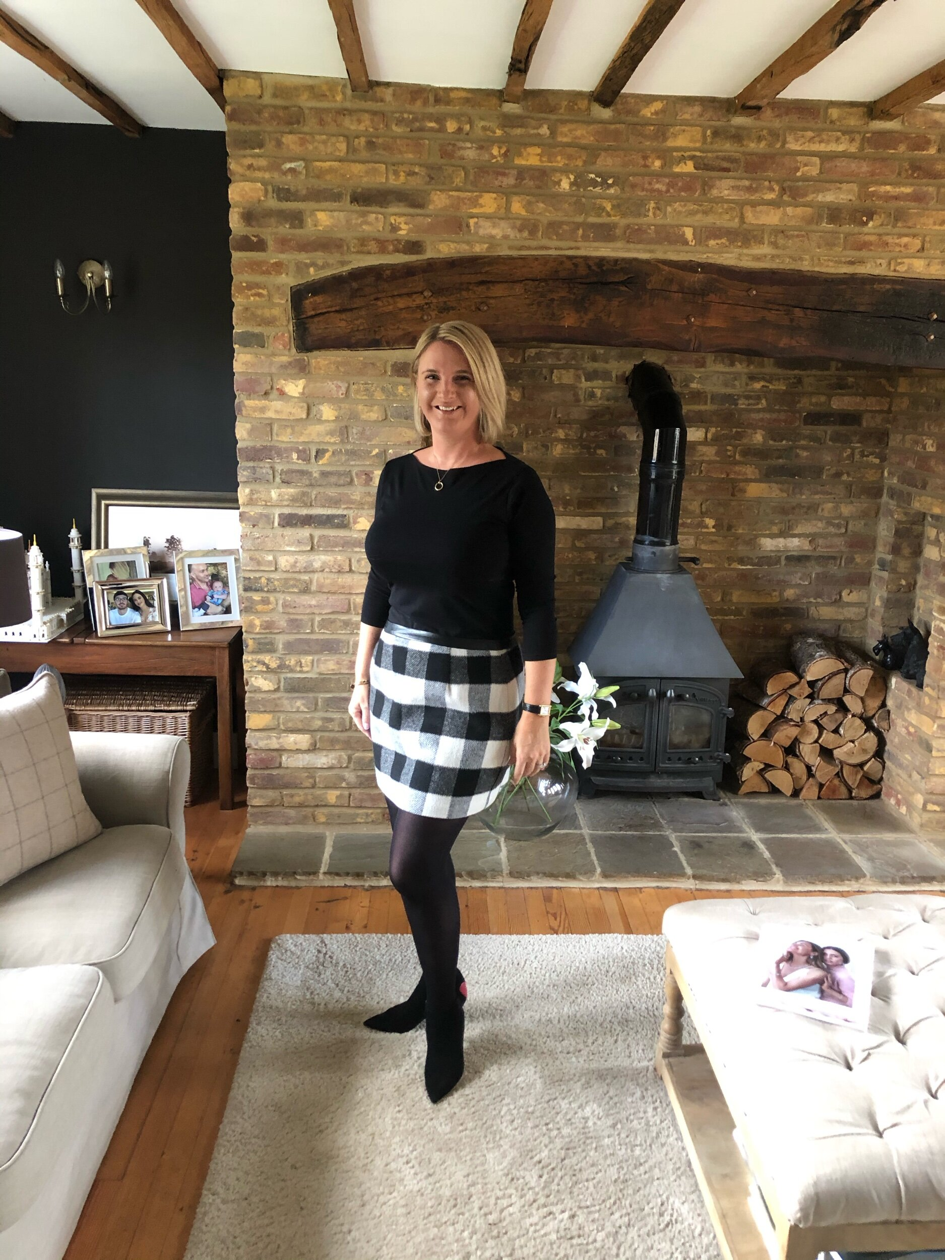 Top from M&S, Skirt from Tommy Hilfiger, Tights from Tesco, Boots from Christian Dior