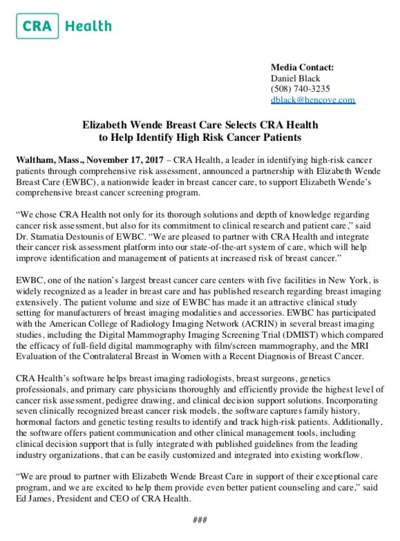 CRA Health Elizabeth Wende release image.png