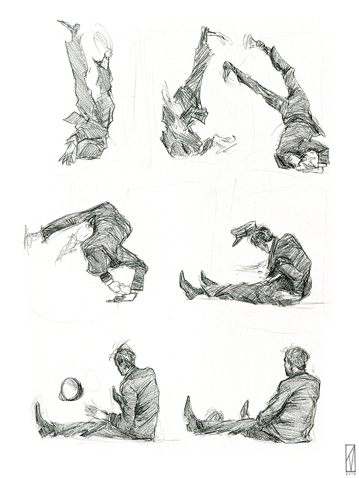 A sequential motion study (comic?) of Buster Keaton falling over, from a scene in Steamboat Bill, Jr.