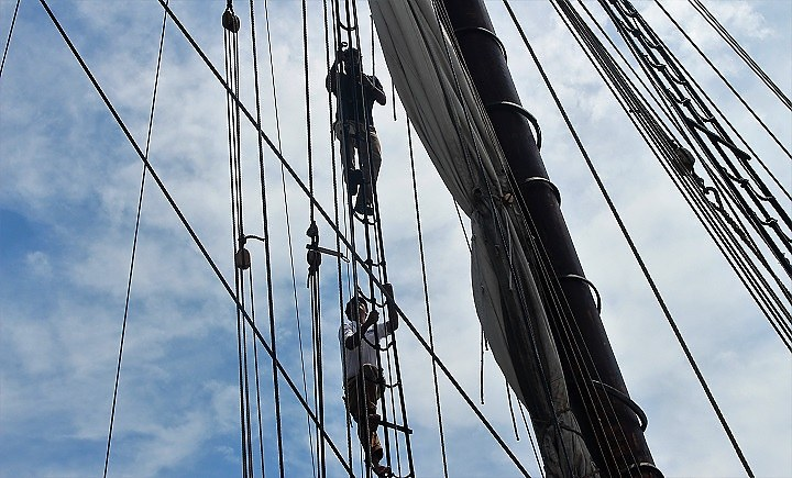 Discovering Amistad crewmen prepare the ship for Wednesday's ride