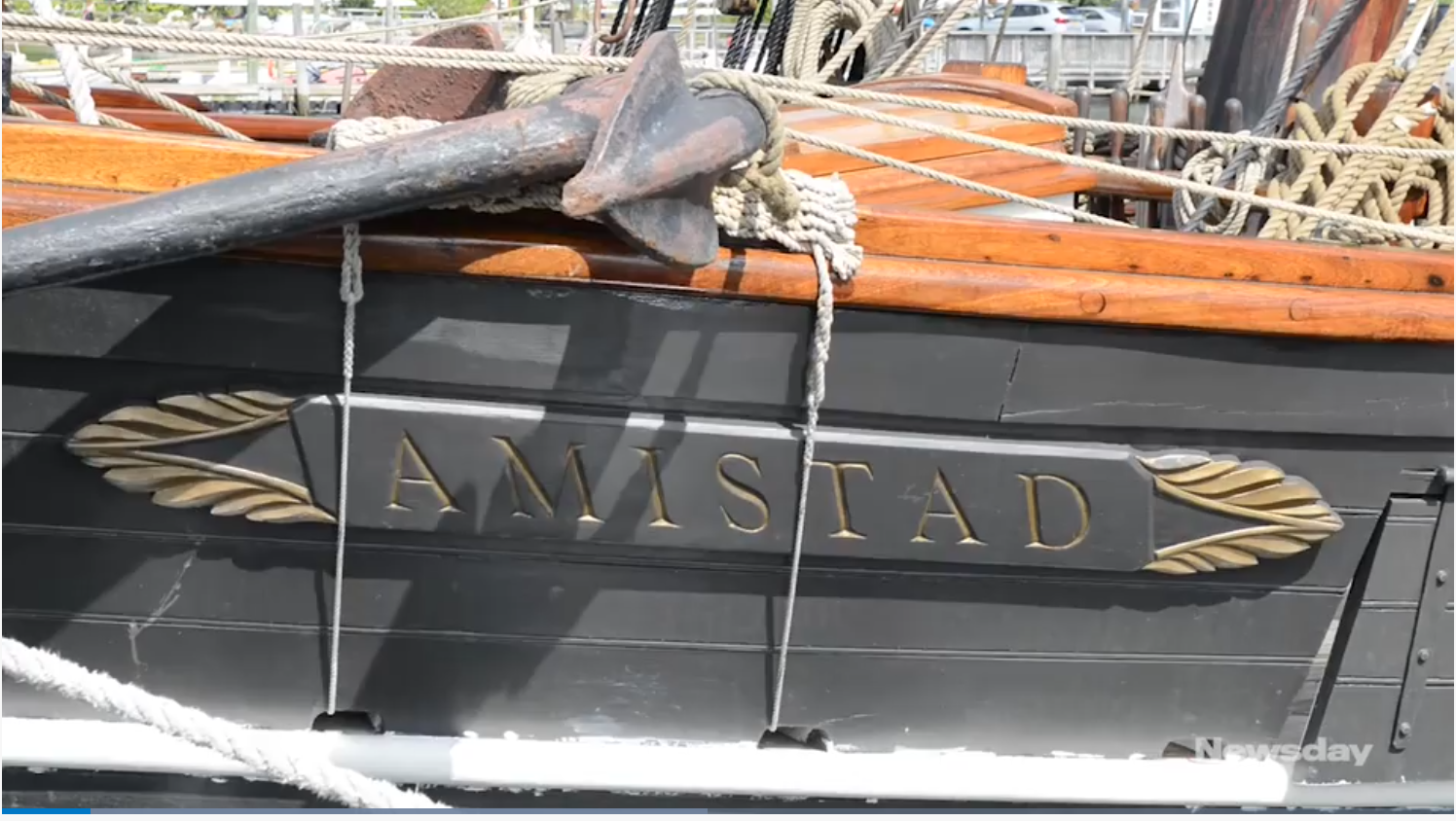 The Amistad sailed out of Port Jefferson Harbor and into Long Island Sound on Sunday to pay tribute to the 1839 revolt of enslaved Africans on a Spanish schooner with the same name.  (Credit: Howard Simmons)