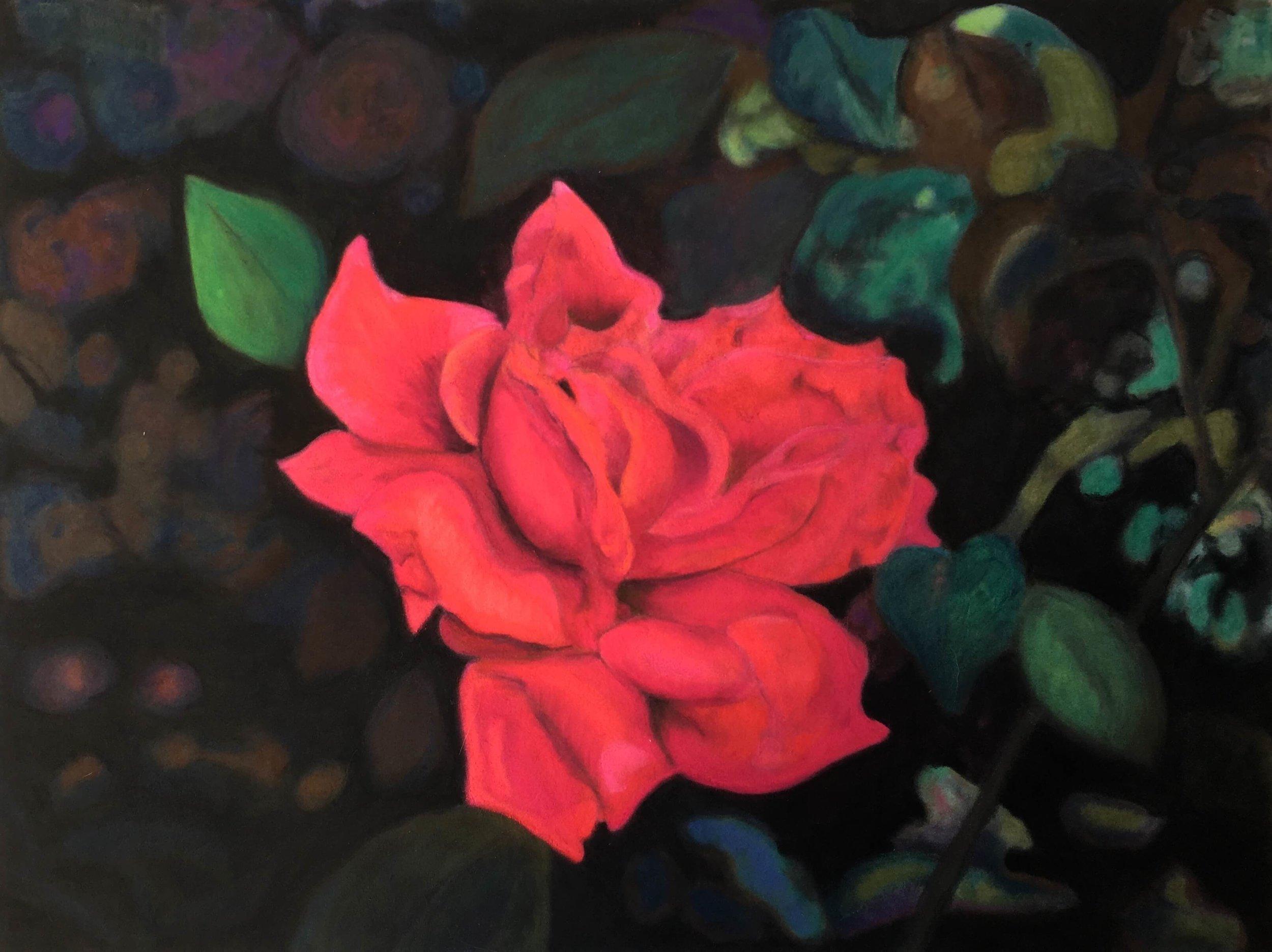 Rose, Ute Latzke, Pastellkreide auf Velour und MDF, 40x30x1 cm, 2017, 400 Euro