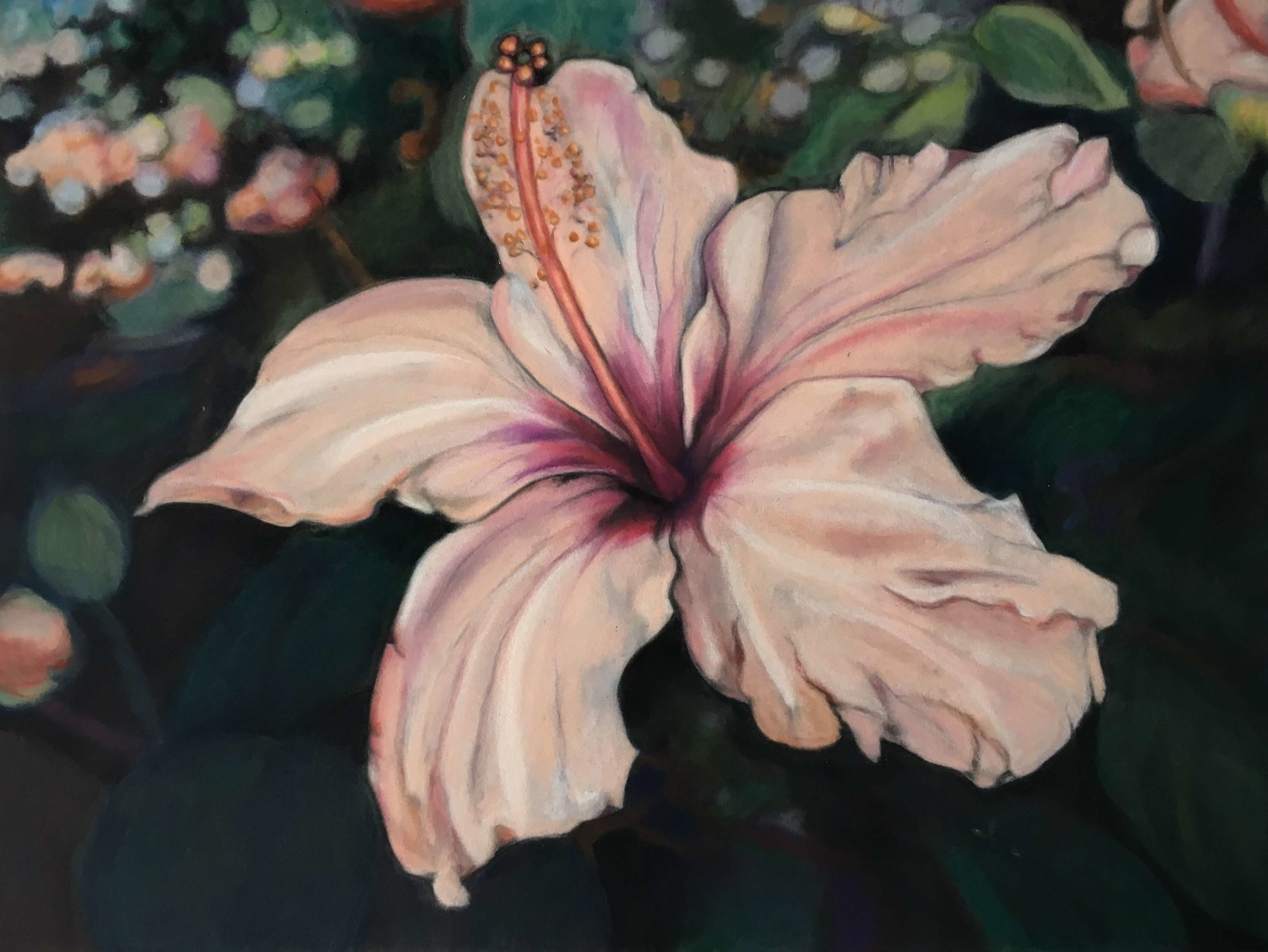 Hibiscus, Ute Latzke, Pastellkreide auf Velour und MDF, 40x30x1 cm, 2017, Preis: 350,-