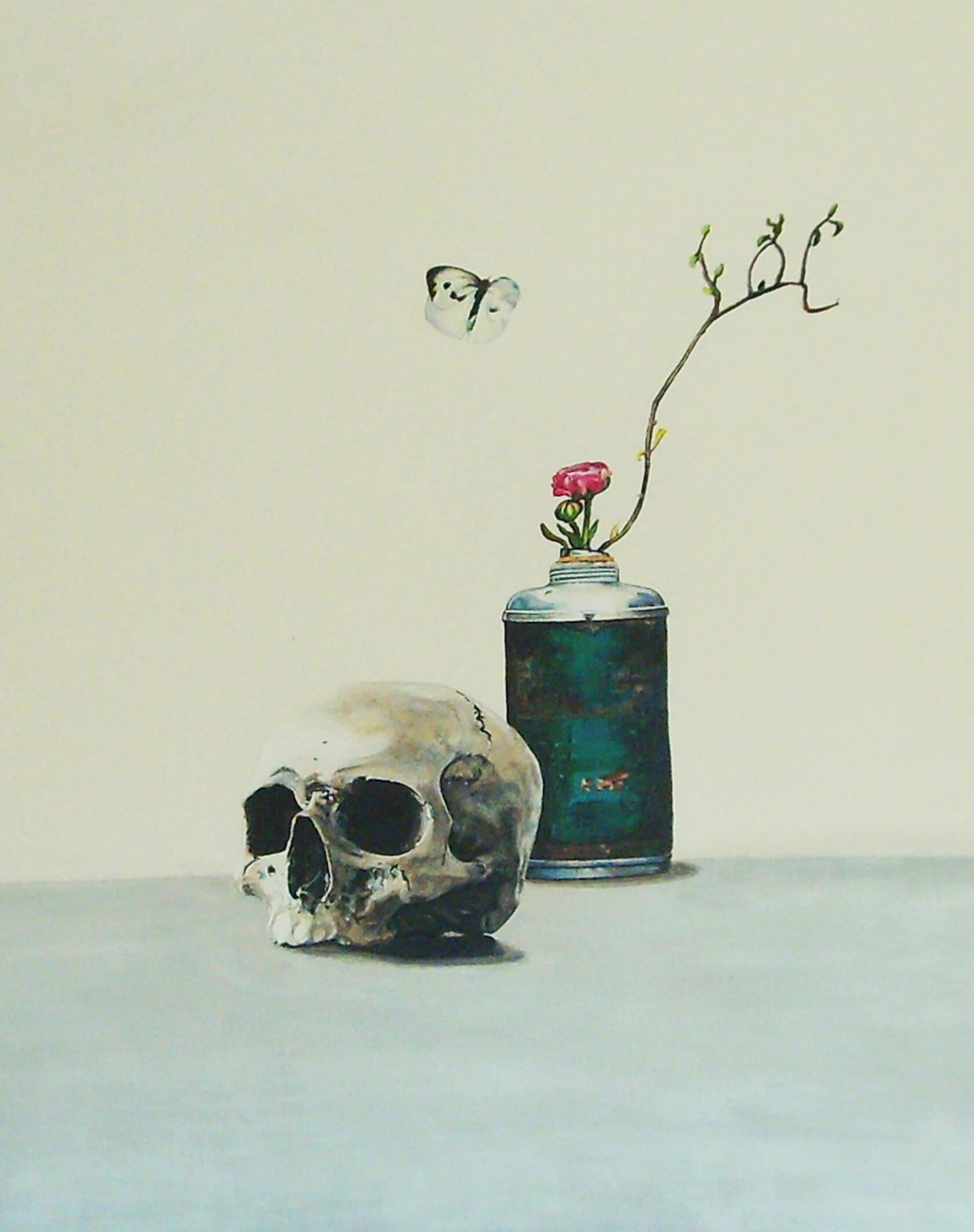 VERKAUFT, Serenity, 70 cm x 50 cm x 4 cm, signiert auf der Rueckseite, 2012