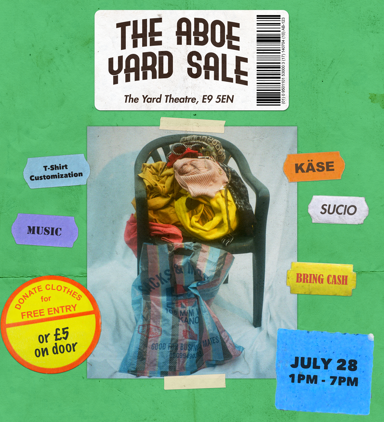 The ABOE Yard Sale will be a day event for selling, customising and donating clothes. Free Entry if you bring an item of clothing to donate.