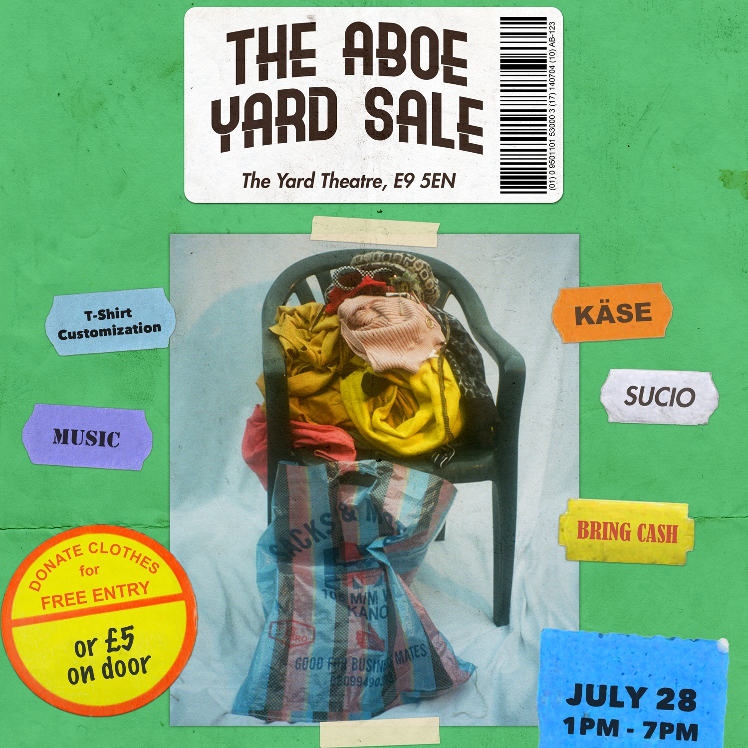 - The ABOE Yard Sale was a day event for selling, customising and donating clothes. We had a pick of very exclusive ABOE merch, samples and 1-off pieces alongside upcoming brands KÄSE & Sucio. Entry was free for everyone who donated clothes and we collected it all and shipped it off to a number of different charities.