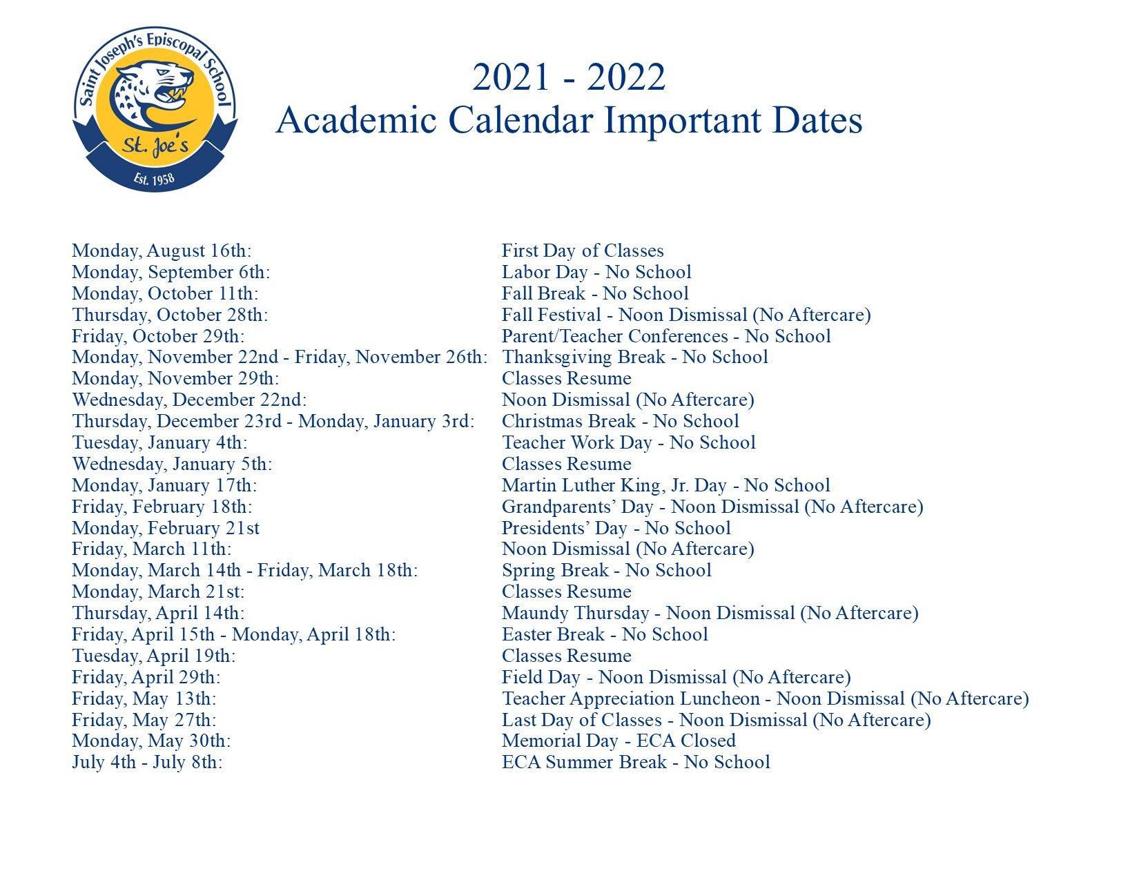 Fiu Spring 2022 Calendar.Calendar Saint Joseph S Episcopal School