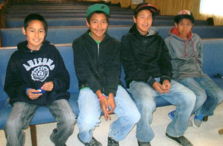 Brennon at far left at the Friends Church in Shungnak AK July 2012