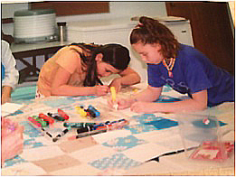 Neah Bay girls making quilt in 2010