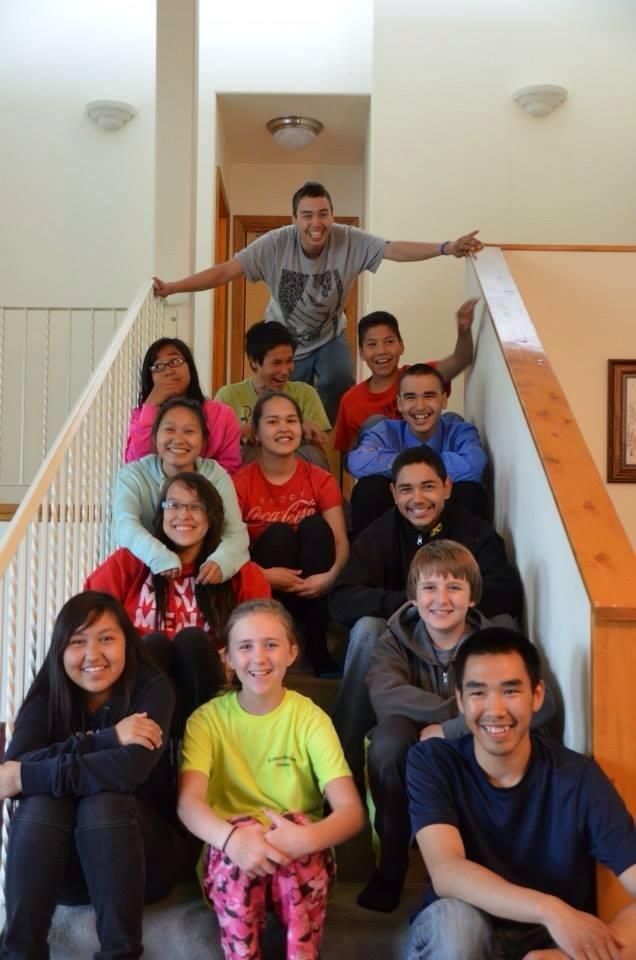Teen Camp group on stairway June 2014