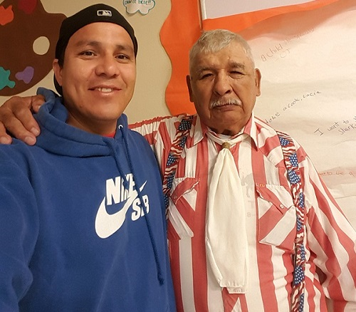 Bob Prue with new friend from the Cheyenne River Sioux Reservation, Eagle Butte, South Dakota