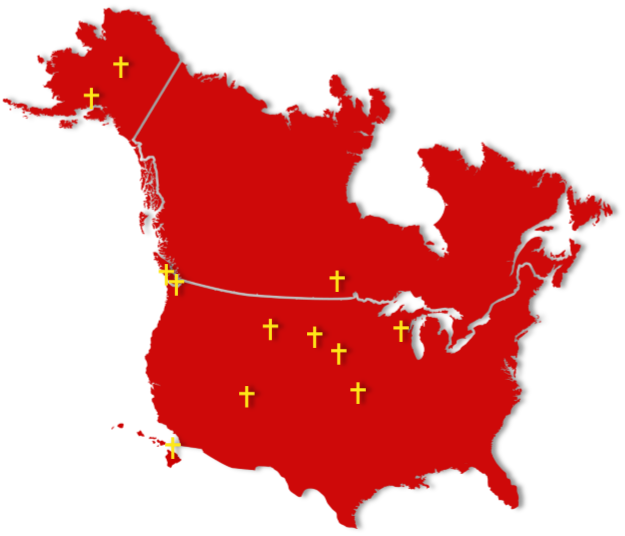 map of ministry sites, red united states with gold crosses, lutheran indian ministries