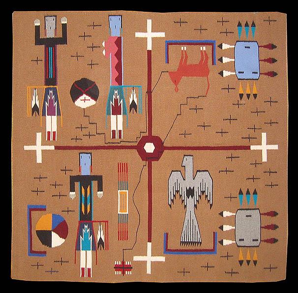 Sandpainting rug, Navajo rug weaving depicting Coyote Stealing Fire
