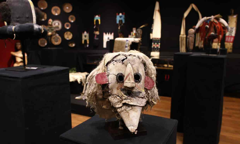A Puebloan Kachina Huhuwa     mask     at a 2014 Paris auction. Photo credit: Thomas Samson/AFP/Getty Images