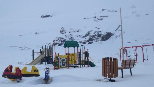 Kangiqsualujjuaq village playground. Photo credit:Catou MacKinnon/CBC