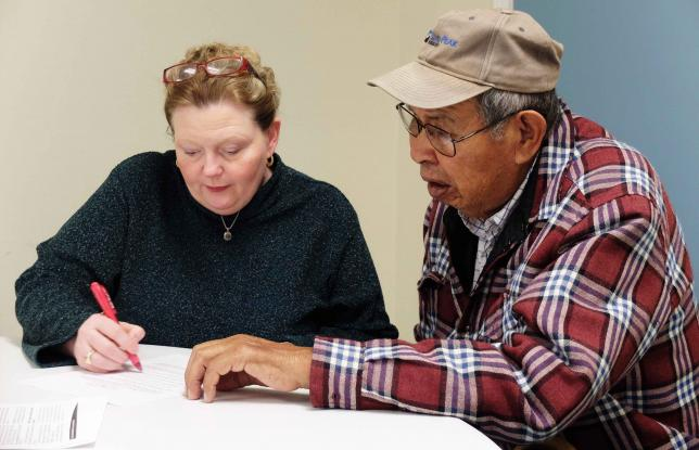 Law students help Crow tribal members to get their estate in order. Photo credit: Reuters/Ellen Wulfhorst