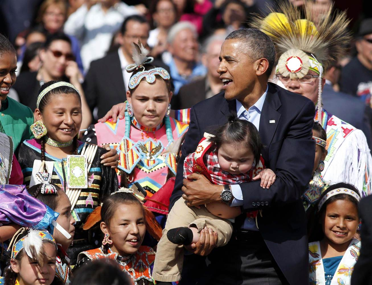 Obama with Native American Indians