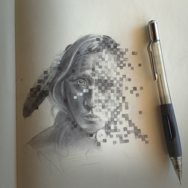 Digital Man sketch by Lehi Thunder Voice Eagle Sanchez.