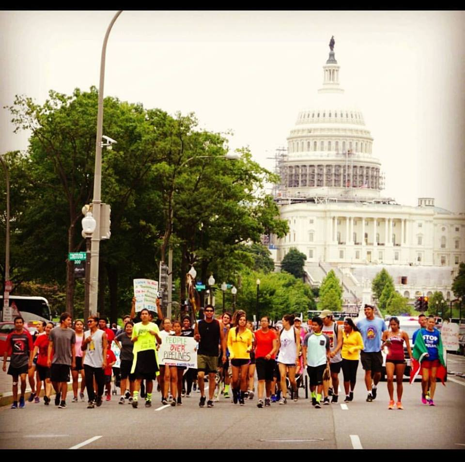 Native American Youth march in protest in front of the White House. Photo credit: Jose Venture/Indian Country Today