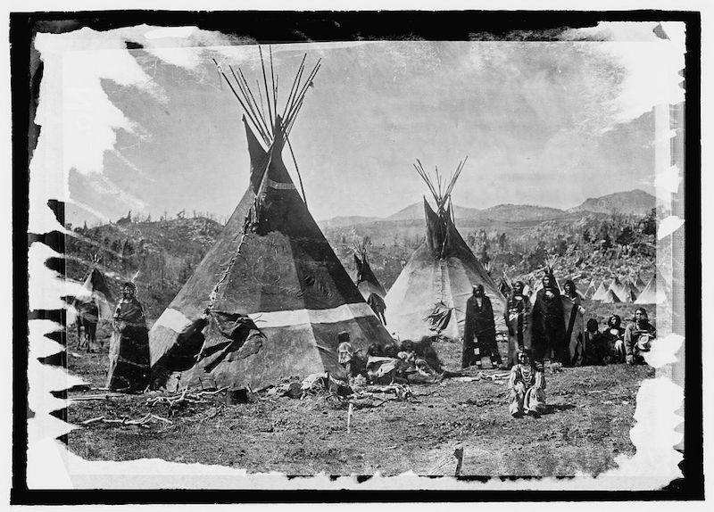 Shoshone tipis in what is now Yellowstone National Park