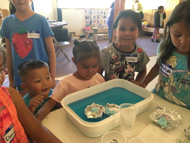 VBS at Navajo. The children learned about Baby Moses and his trip down the river.