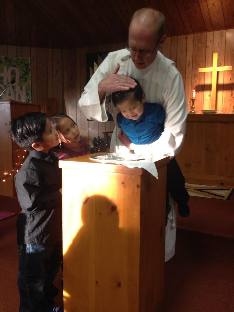 child being baptized
