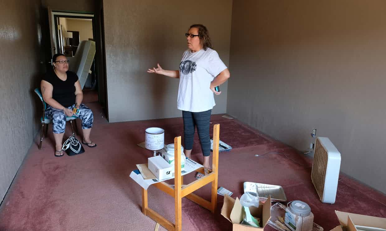 Lisa Heth stands in the last room to be finished in the Pathfinder Shelter with her daughter Kendall Cadwell, who works at the shelter as an advocate. Photograph: Mary Annette Pember