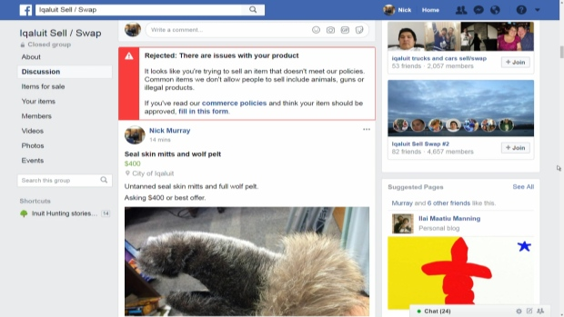 Posts with the words 'fur' or 'skin' were rejected by Facebook with a note appearing in a red box saying 'it looks like you're trying to sell an item that doesn't meet our policies.' (Nick Murray/CBC) lutheran indian ministries native news