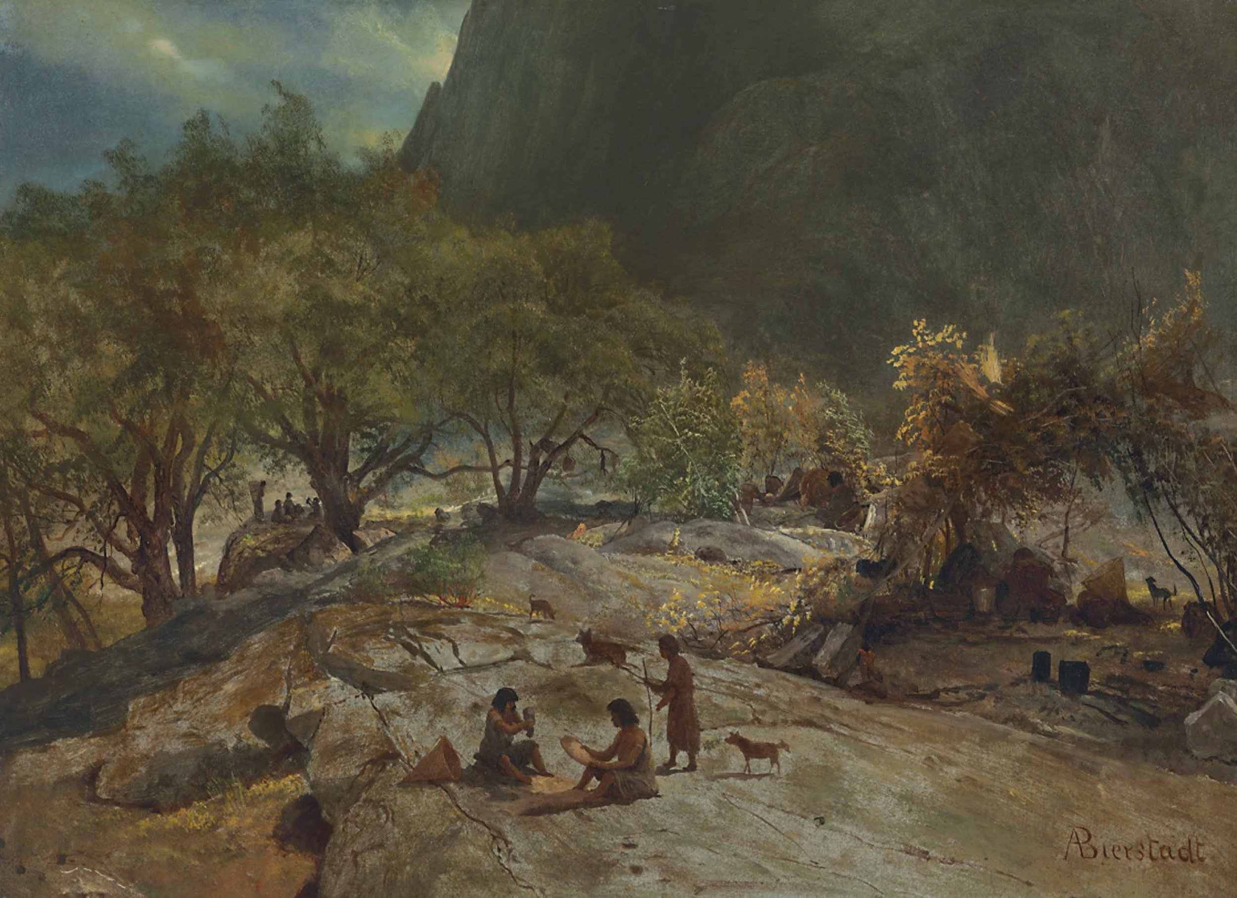 """Mariposa Indian Encampment, Yosemite Valley, California"" by Albert Bierstadt, 1872. lutheran indian ministries native news"