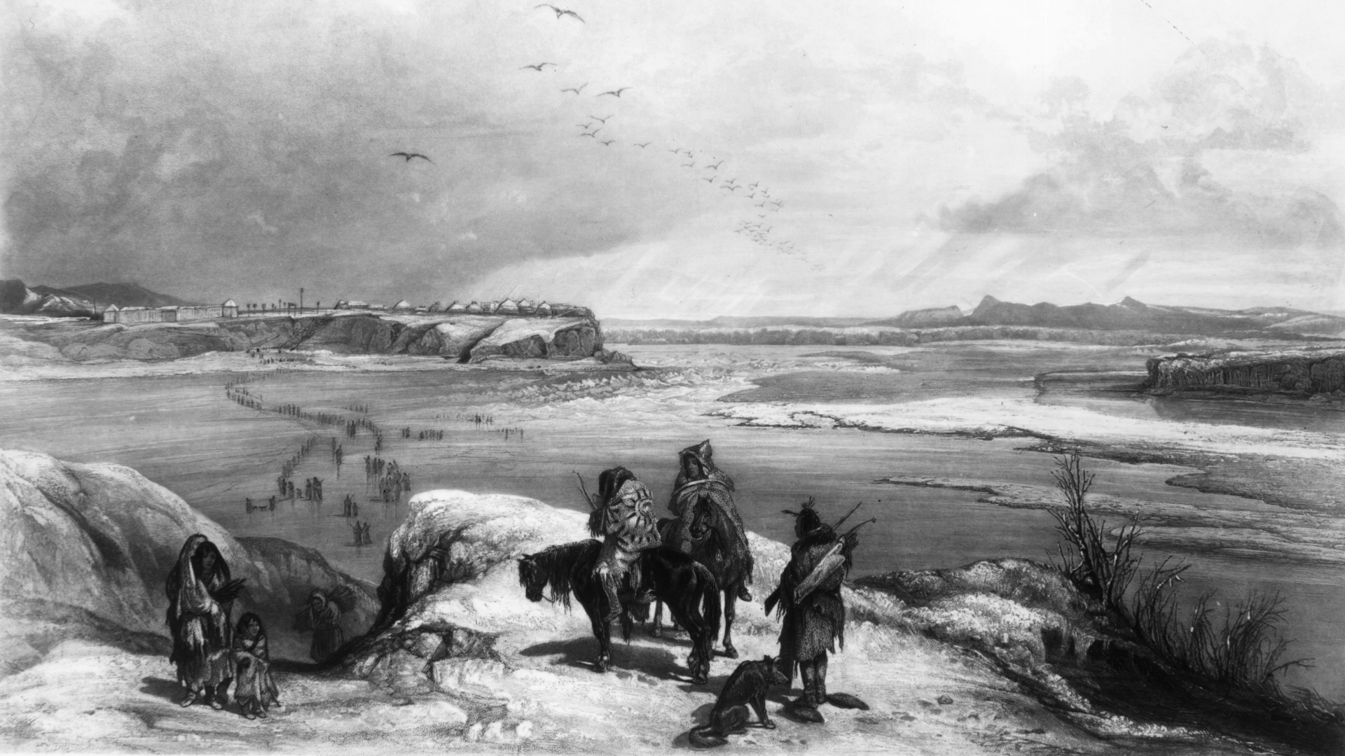 A group of Native Americans gazing across the frozen Missouri River, 1834. (Credit: MPI/Getty Images) lutheran indian ministries native news