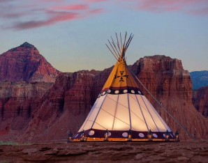 Capitol Reef Resort teepee beside the red rock cliffs lutheran indian ministries native news