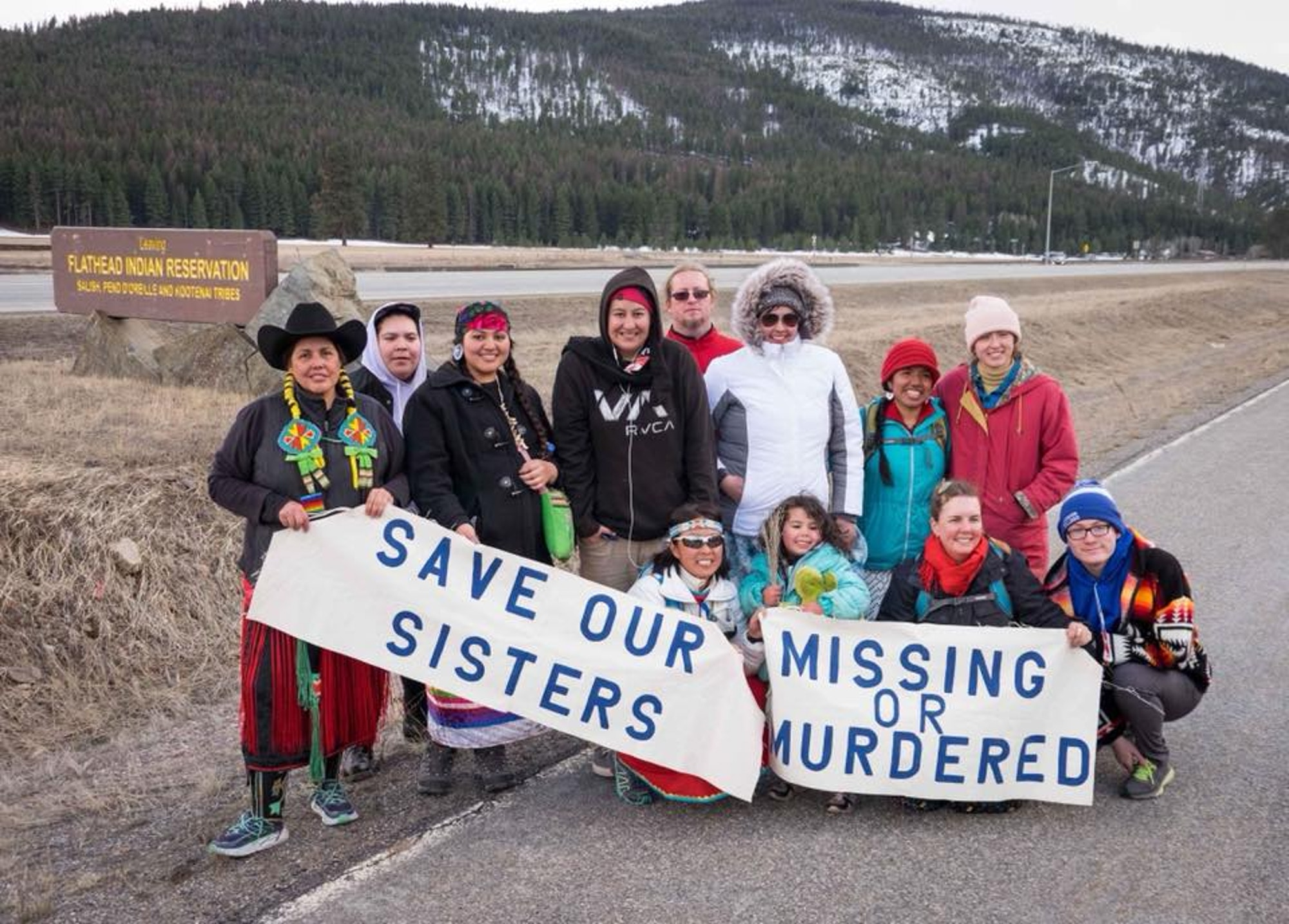 Marita GrowingThunder (third from left) and supporters of her 80-mile walk through the Flathead Indian Reservation. Photo via  Save Our Sisters MMIW/Facebook .