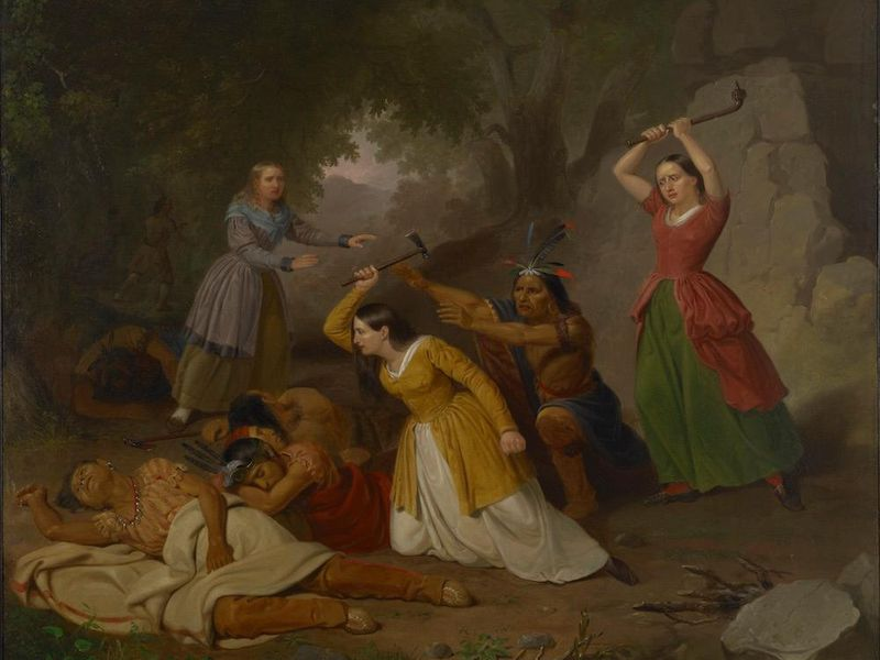 """Junius Brutus Stearns, """"Hannah Duston Killing the Indians"""" (1847). Oil on canvas. (Colby College Museum of Art, Gift of R. Chase Lasbury and Sally Nan Lasbury.) lutheran indian ministries native news"""
