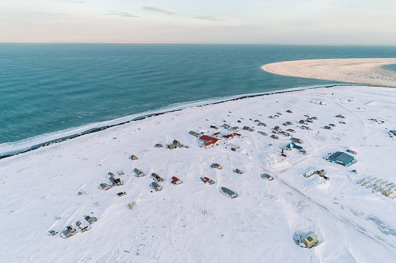 Gambell, Alaska, is on St. Lawrence Island in the Bering Sea. On clear days, Siberia is visible in the distance. People have lived on the island for thousands of years and developed subsistence hunting strategies and traditions that are still being passed down. (Photo by Kiliii Yuyan for NPR)