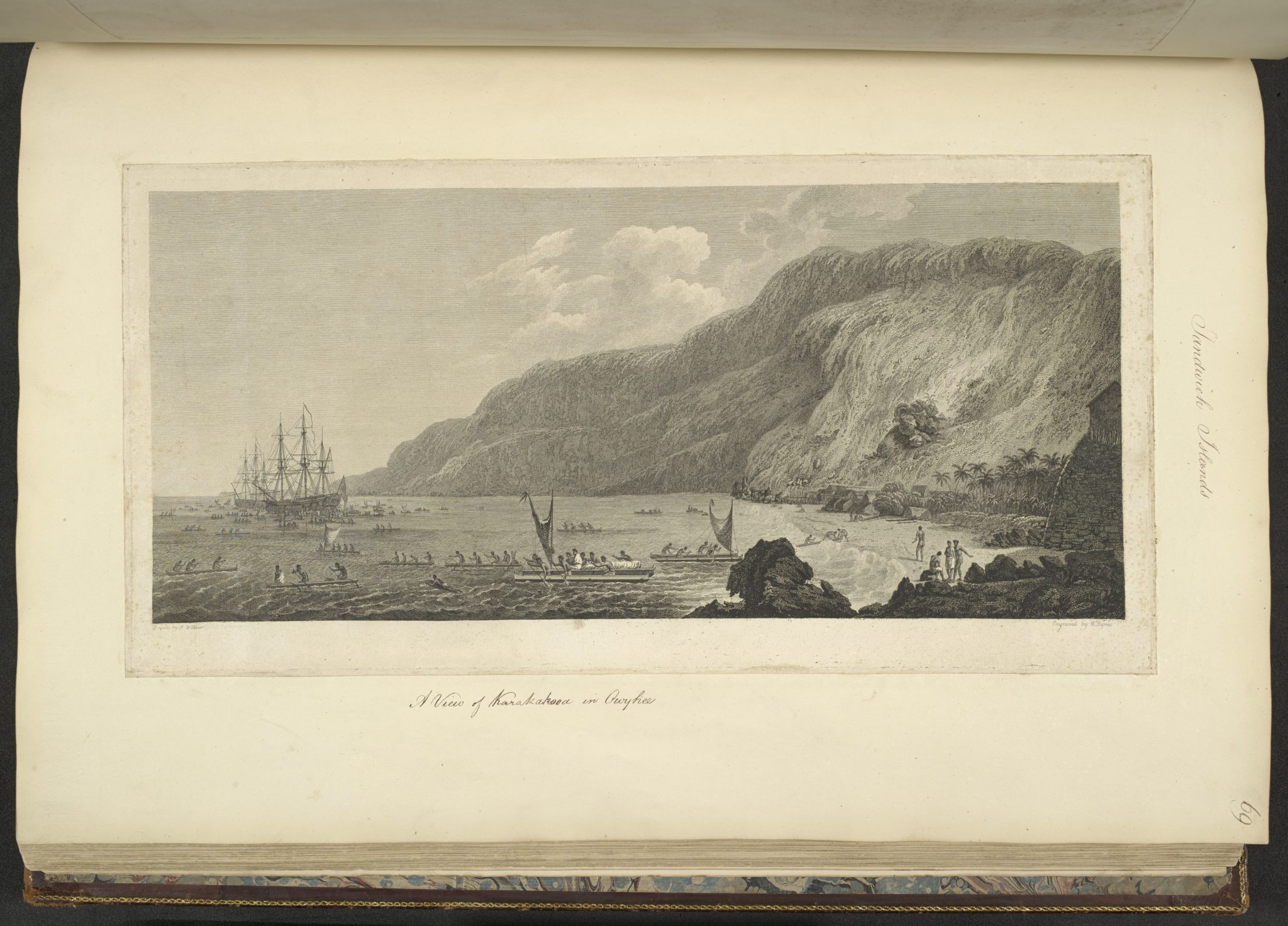 """""""View of Karakakooa in Owhyhee,"""" drawn by John Webber and engraved by W. Byrne. The drawing is part of the """"James Cook: The Voyages"""" exhibit at The British Library in London."""