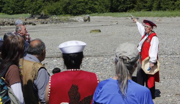 Houston and other Tlingit leaders were showing others the area as part of the new Tléix' Yaakw (One Canoe) Photo credit: Alex McCarthy/Juneau Empire