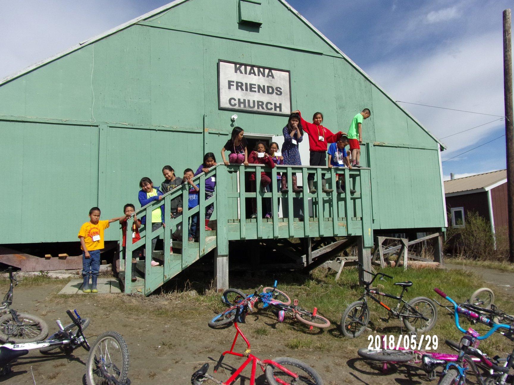 Kids lined up at the Kiana Friends Church alaska lutheran indian ministries native