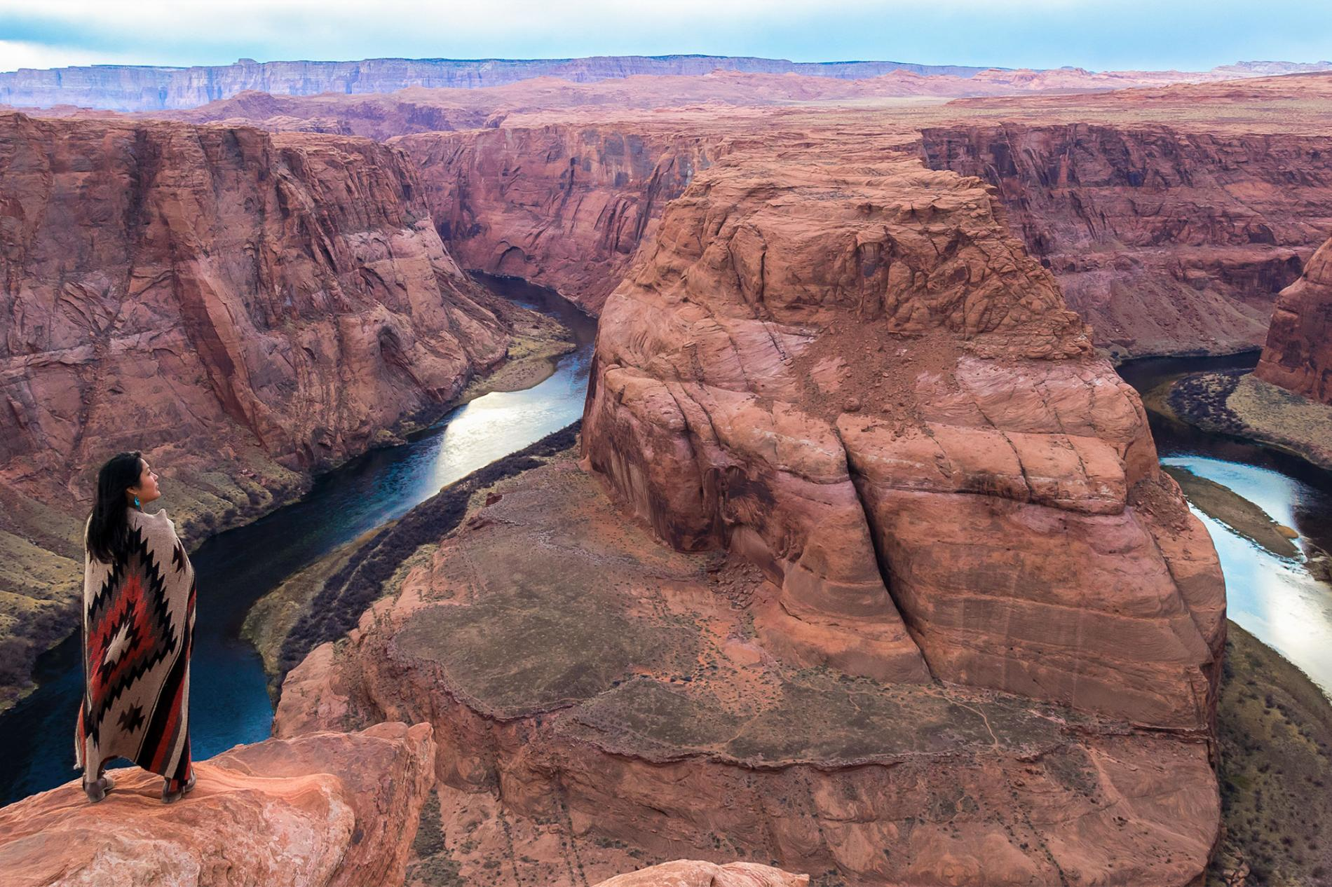 Jaylyn Gough looks out over Horseshoe Bend, a Colorado River canyon that rests inside the Navajo Nation reservation. PHOTOGRAPH BY MARISSA SAINTS lutheran indian ministries native news