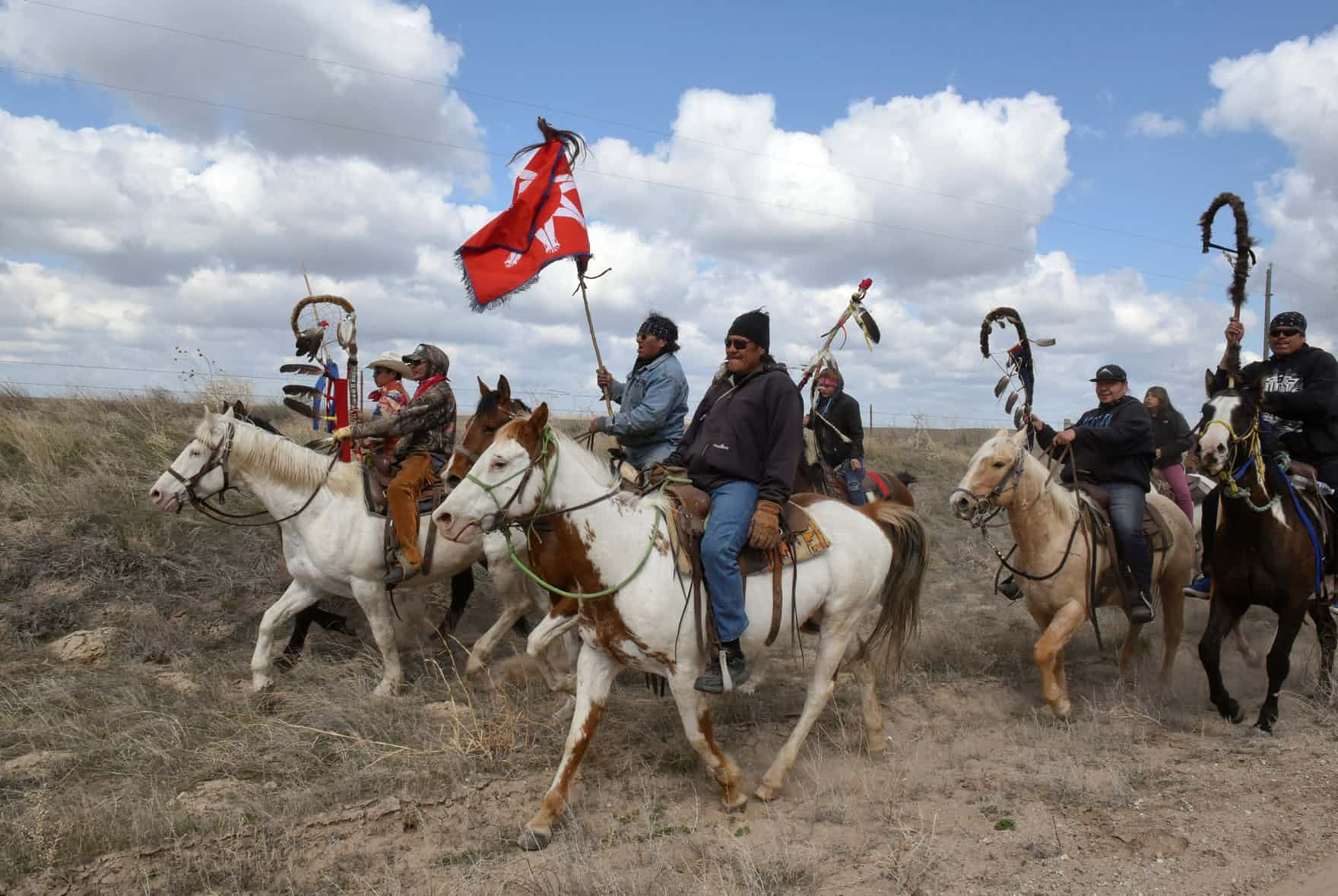 Roderick Dupris of the Cheyenne River reservation and other Fort Laramie treaty riders in Torrington, Wyoming Credit:Stephanie Keith/Reuters